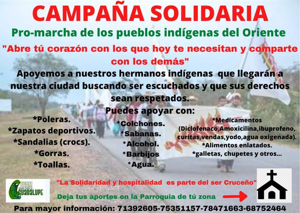 """EVAM – Vicaría Virgen de Guadalupe promueve la """"Campaña solidaria Pro – marcha de los Pueblos indígenas del Oriente"""""""